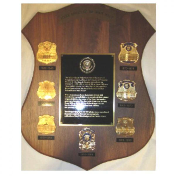 White House Police Badges on spectacular mounted plaque