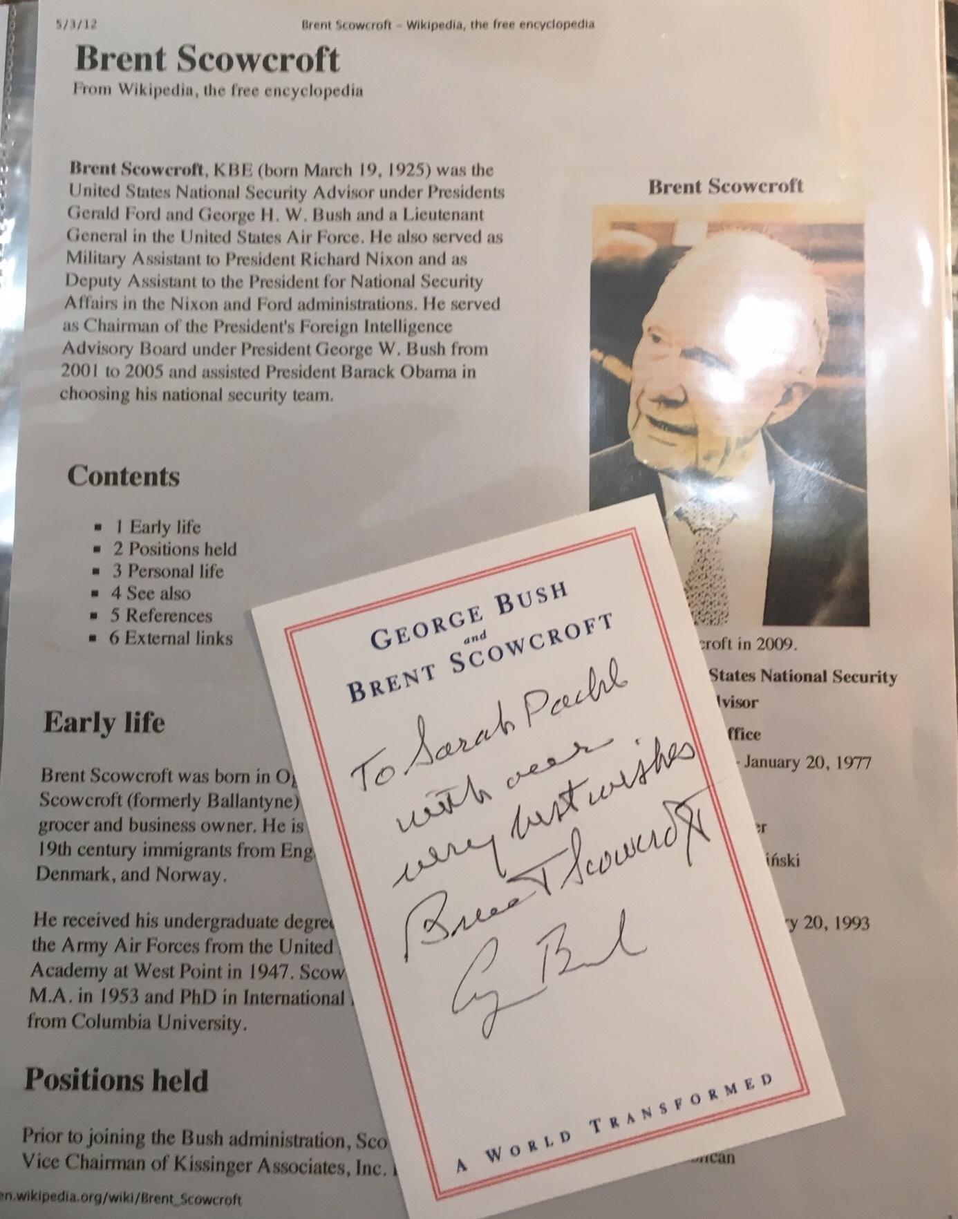 George H W Bush Signature Brent Scowcroft Book Plate 706