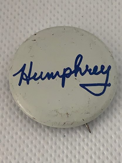 Humphrey white with blue cursive letters