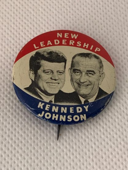 "1960 Kennedy Johnson Political Campaign Button ""New Leadership"""