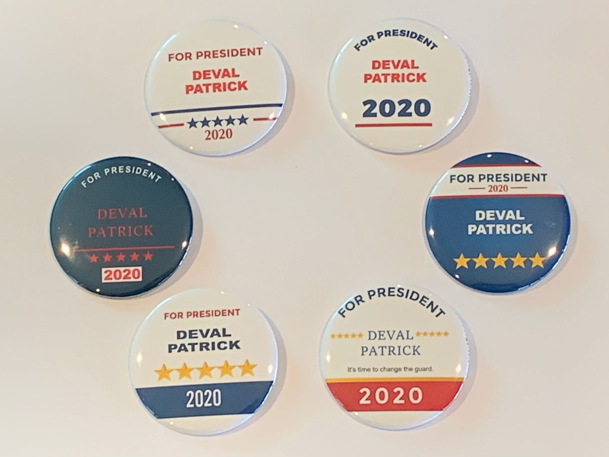 Joe Biden For President 2020 Campaign Buttons Set of 6 pins, 2.25 inches