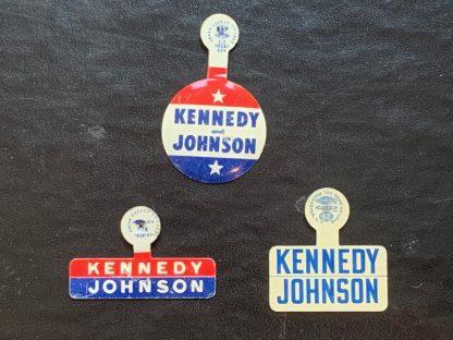 John F. Kennedy and Johnson Set of 3 Lapel Pin - Set of 3