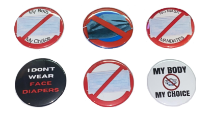 No Mask Mandates - Anti-mask buttons - Collection of 6 pins